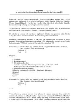 Zápisnica zo zasadnutia obecného zastupiteľstva, konaného