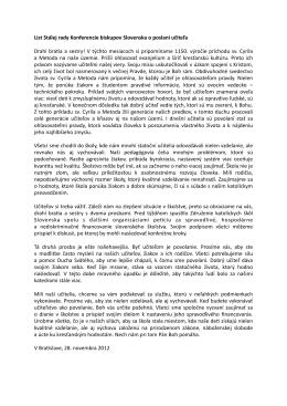 list Stálej rady KBS o poslaní učiteľa