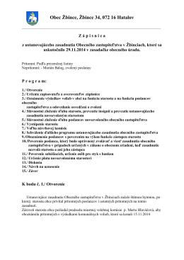 Zápisnica z ustanovujúceho zasadnutia OZ Žbince