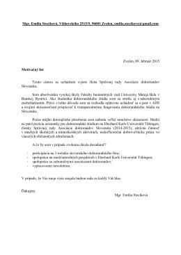 Mgr. Emília Stecíková, Višňovského 2515/9, 96001 Zvolen, emilia