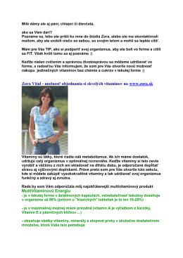 Zora Vital - možnosť objednania si skvelých vitamínov na www.zora.sk