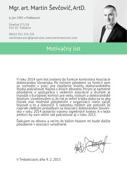 Motivačný list ADS 2015, Martin Ševčovič