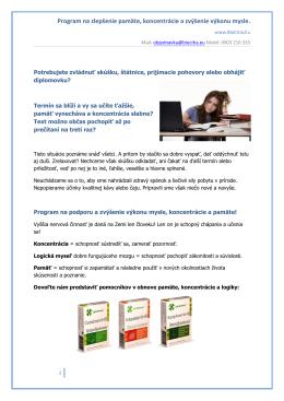 Program myseľ, pamäť a koncentrácia!