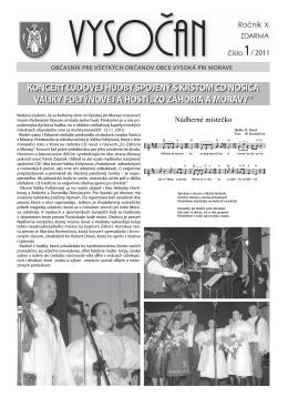 Vysočan, rok 2011, 1. číslo