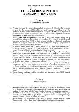 Etický kódex rozhodcu a zásady etiky v SZTŠ