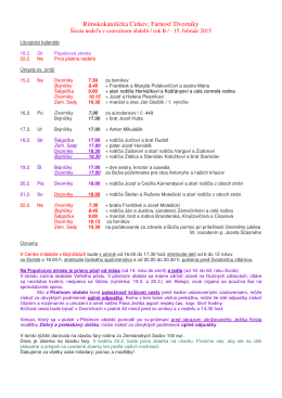 Farské oznamy od 15. do 22. februára 2015 (.pdf)