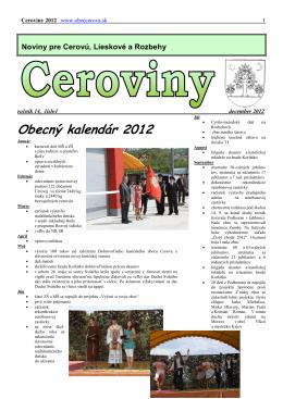 Obecný kalendár 2012