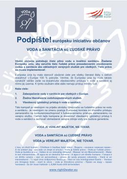 Podpíšte európsku iniciatívu občanov VODA a
