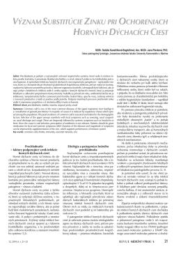 význam substitúcie zinku pri ochoreniach horných dýchacích ciest