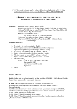 Zasadnutie prezídia 08.09.2014