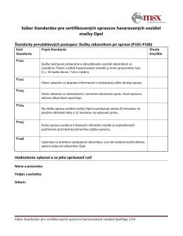 Súbor štandardov pre certifikovaných opravcov