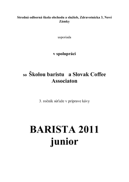 Propozicie Barista Junior 2011