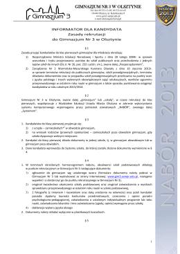 """SYLABUS PRZEDMIOTU """"WSTĘP DO INFORMATYKI"""""""