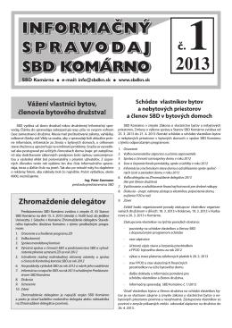 Spravodaj 2013/01 - Stavebné bytové družstvo Komárno