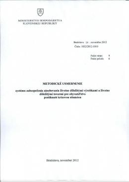 Metodické usmernenie MH SR č. 1832/2012