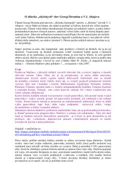 """O zbierke """"skýtskych"""" slov Georgi Dremina a V.I. Abajeva"""