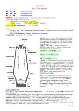 Surové železo a oceľ CO Fe C FeO + → +