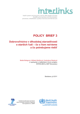 Policy Brief 3 - Dobrovoľníctvo v dlhodobej
