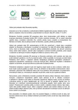 Otvorený list predsedovi vlády 18.12.2014
