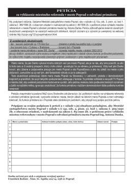 PETÍCIA za vyhlásenie miestneho referenda v meste Poprad o