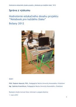Správa z výskumu Hodnotenie edukačného dosahu projektu