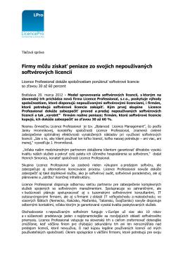 Tlačová správa - licencepro.sk