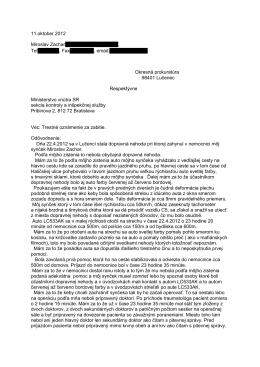Príloha č. 1 Trestné oznámenie za zabitie 10.11.2012