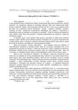 Informovaný súhlas podľa § 4 ods. 4 zákona č. 576