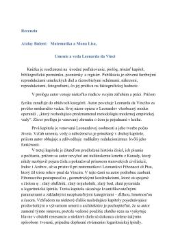 Recenzia Atalay Bulent: Matematika a Mona Lisa, Umenie