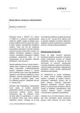 1 Novela zákona o konkurze a reštrukturalizácii