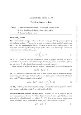 Laboratórna úloha č. 10 Zrážka dvoch telies