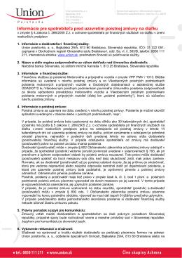 Informácie pre spotrebiteľa pred uzavretím poistnej zmluvy