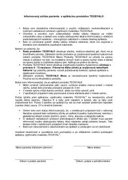 Informovaný súhlas pacienta s aplikáciou produktov
