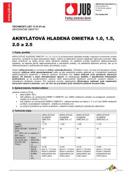 Technický list - Farbydomov.sk
