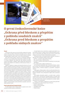 """O první československé knize """"Ochrana před bleskem a"""
