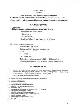 ZMLUVA O DIELO c. 2/10/14 uzavreta podl`a § 536
