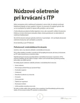 Núdzové ošetrenie pri krvácaní s ITP