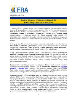 Prehľad výsledkov prieskumu - European Union Agency for