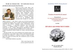 divadlo ako dokument doby - Fakulta dramatických umení Akadémie