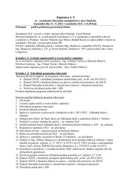 Zápisnica č. 9-2012 z 31.8.2012