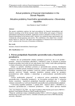 Actual problems of financial intermediation in the Slovak