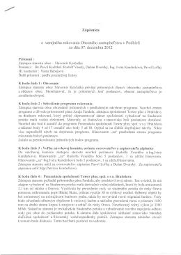 Zápisnica zo zasadania OZ zo 7 decembra 2012