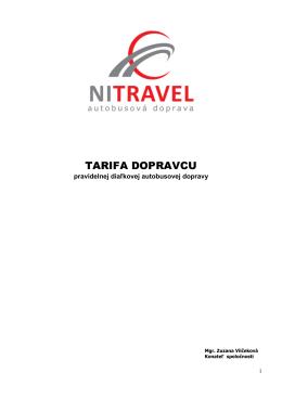 TARIFA DOPRAVCU