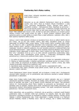 Pastiersky list k Roku rodiny