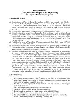 Pravidlá súťaže - Kúpele Trenčianske Teplice