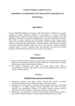 etický kódex zamestnanca - Stredisko služieb školám a školským