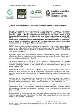 Tlačová správa APOH / RÚReP / ZRSM / ANSDS 4.3.2015