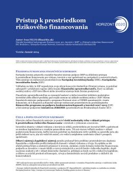 Prístup k prostriedkom rizikového financovania