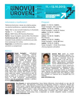 Informácie o konferencii: Program: Rečníci: