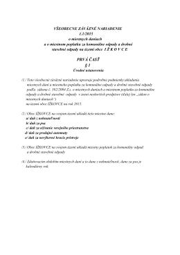 Obecné zastupiteľstvo v Ižkovciach na základe § 6 zák